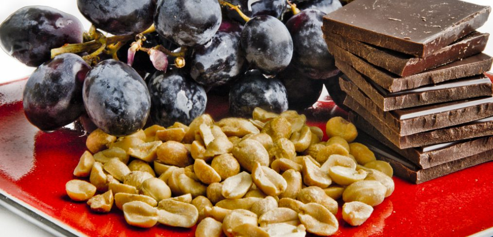 Peanuts, grapes and dark chocolate