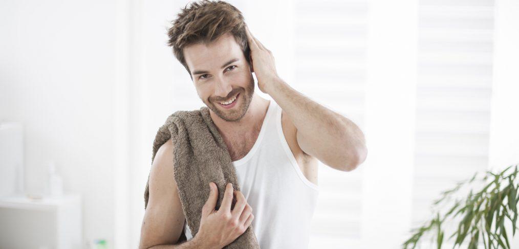 Man getting ready to groom himself.