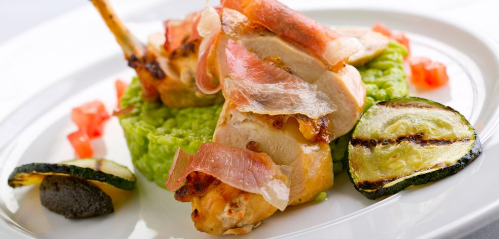 Chicken with parma ham and risotto.