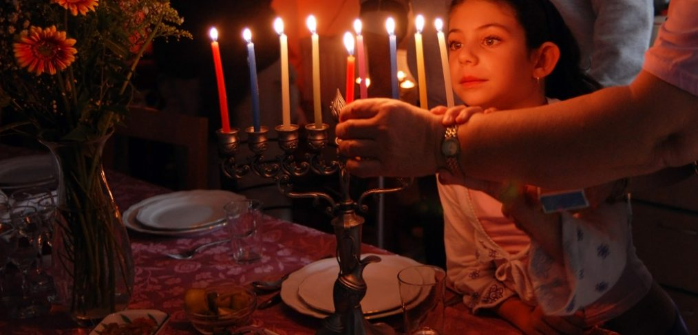Hannukah with candles