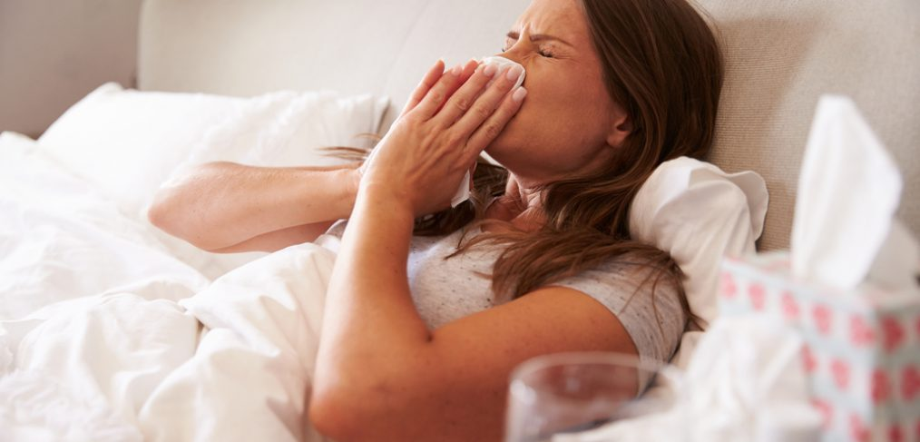 Woman down with the flu