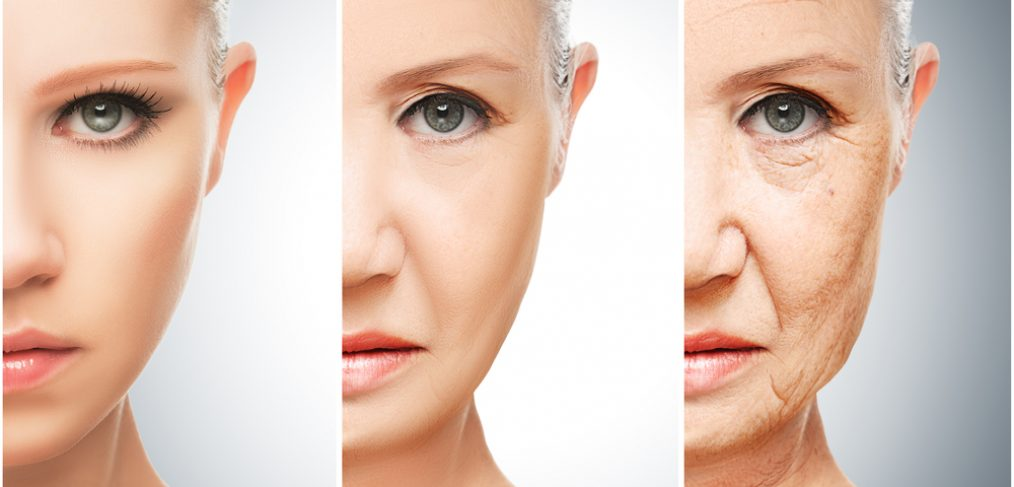 Three panels of woman's aging process