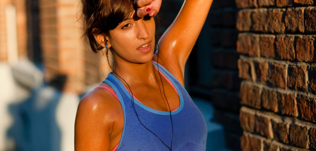 Woman sweating after a jog