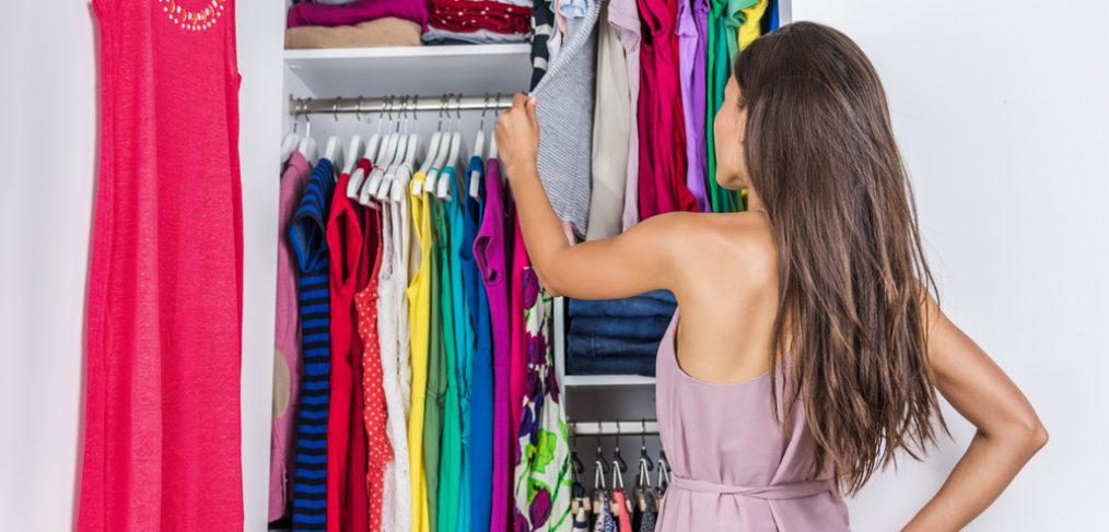 Woman de-cluttering