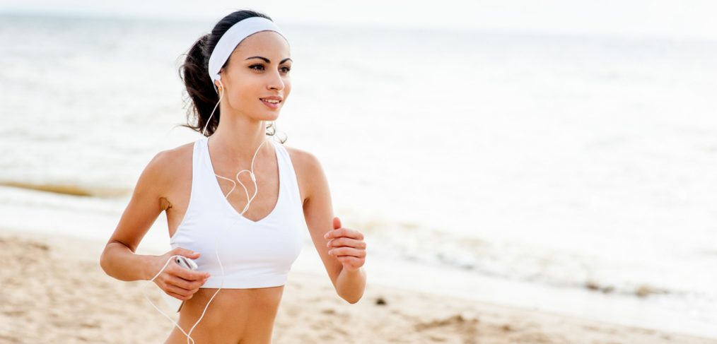 Women jogging on the beach