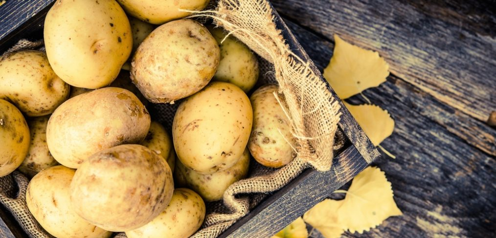 Fresh potatoes on table
