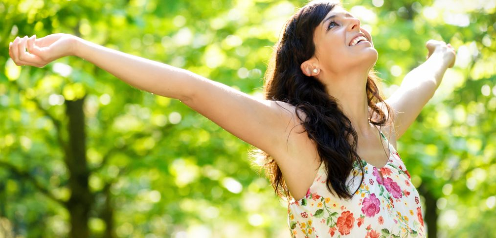 Happy optimistic woman