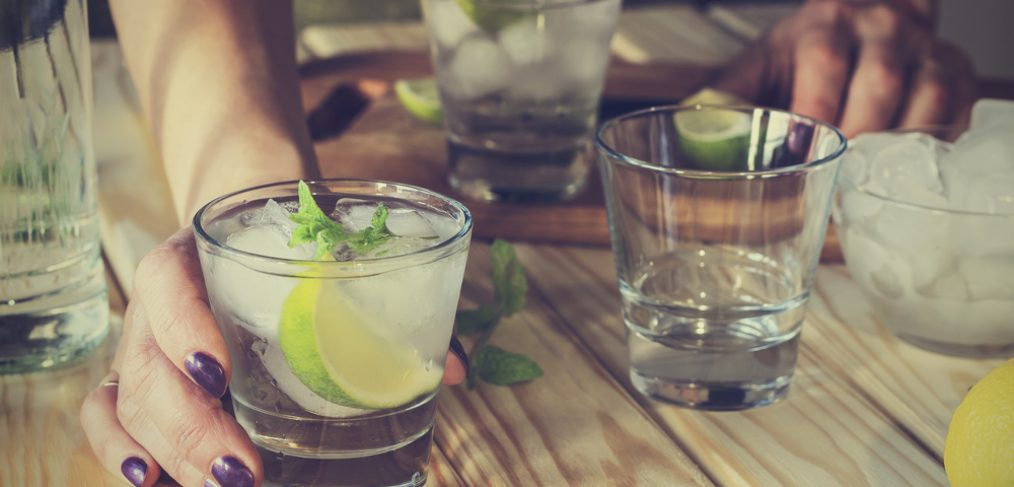 Tequila on wooden table