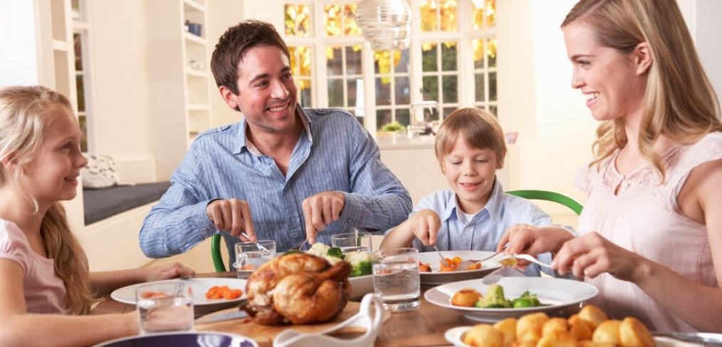 Nuclear family enjoying dinner together